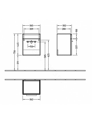 Тумба под раковину Villeroy&Boch Verity Design B017 01 DH, 45 см, белая