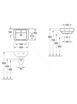 Раковина мебельная Villeroy&Boch Verity Design 45 см 5303 45 01