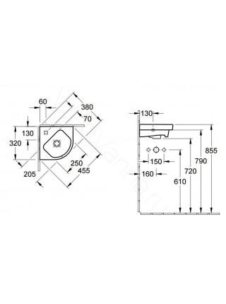 Раковина подвесная Villeroy&Boch Verity Design 32 см угловая 5319 32 01