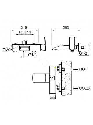 Смеситель для ванны Zeegres Z.Kon 72002001