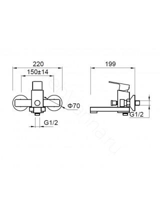 Смеситель для ванны Zeegres Z.Parall 11002001