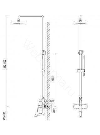 Душевая стойка Zeegres Z.Rill 47052001, хром, с изливом
