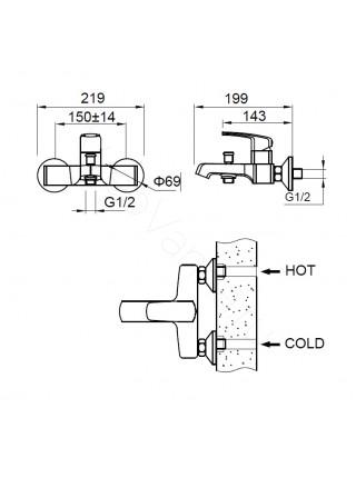 Смеситель для ванны Zeegres Z.Rill 47002001