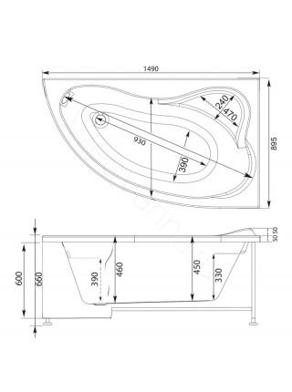 Акриловая ванна Aquanet Atlanta 150x90, левая/правая, с каркасом