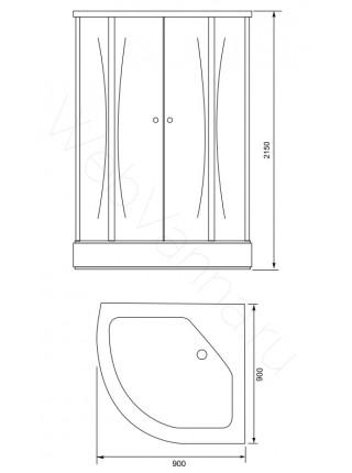 Душевая кабина Aquanet Antares 90x90, с гидромассажем