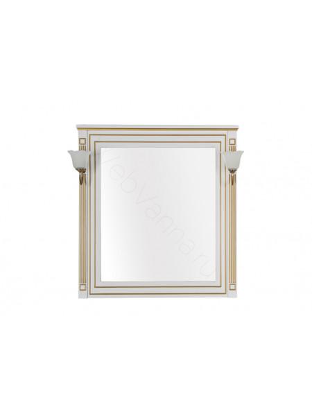 Зеркало Aquanet Паола 90 см, белое/патина золото