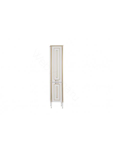 Пенал Aquanet Паола 40 см, белый/патина золото