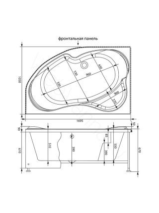 Акриловая ванна Aquanet Allento 170x100, левая/правая, с каркасом