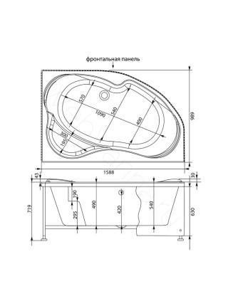 Акриловая ванна Aquanet Capri 160x100 левая/правая, с каркасом