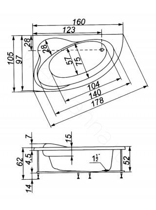 Ванна Аквапласт Афалина 160х105, с каркасом, левая