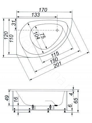 Ванна Аквапласт Диана 170х120, с каркасом, левая