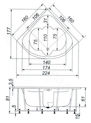 Ванна Аквапласт Рица 160х160, с каркасом
