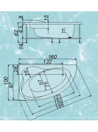 Ванна Аквапласт Селена 160х100, с каркасом, левая