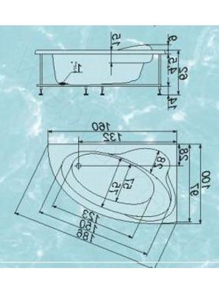 Ванна Аквапласт Селена 160х100, с каркасом, правая
