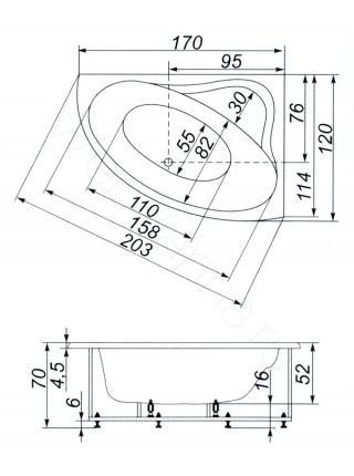Ванна Аквапласт Супер Диана 170х120, с каркасом, правая