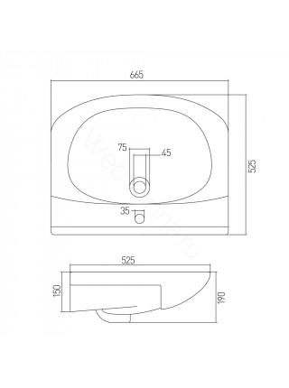 Раковина мебельная Акватон Аквамель 67 см