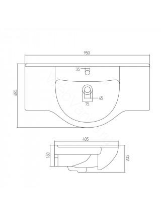 Раковина мебельная Акватон Аквастоун 95 см