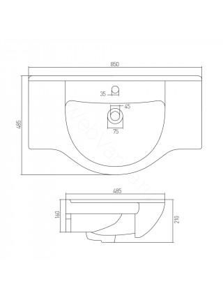 Раковина мебельная Акватон Акватель 85 см