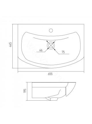 Раковина мебельная Акватон Балтика 65 см, белая