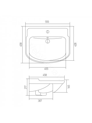 Раковина мебельная Акватон CLASSIC-55 B, 55 см