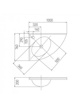 Раковина мебельная Акватон Меблико 102х77 см, левая, угловая, без рейлинга