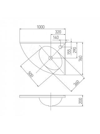 Раковина мебельная Акватон Меблико 102х77 см, правая, угловая, без рейлинга