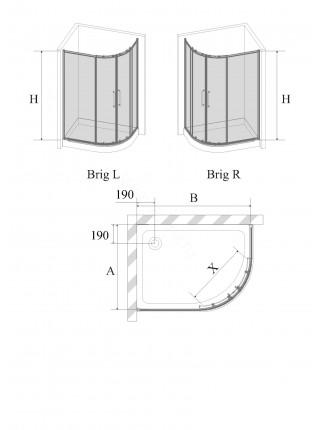 Душевой угол Avek Brig 120x80 левый/правый