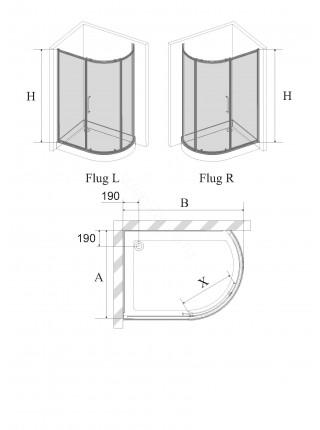 Душевой угол Avek Flug 110x80 левый/правый