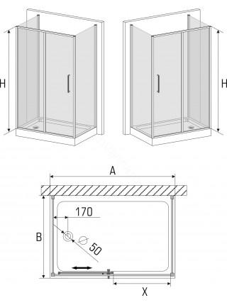 Душевой угол Avek Klassik B E 100x130 левый/правый