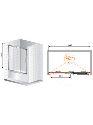 Шторка на ванну Cezares TRIO 180 V