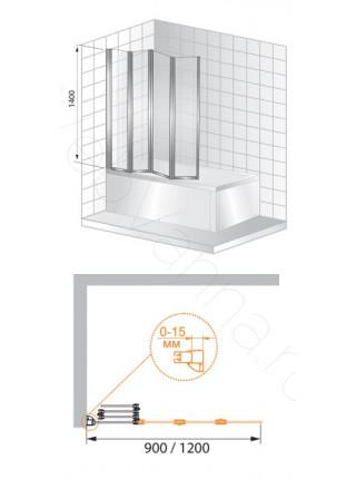 Шторка на ванну Cezares TRIO 120 V-3 L/R