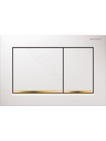 Смывная клавиша Geberit Omega 30, 115.080.KK.1, белая/золото