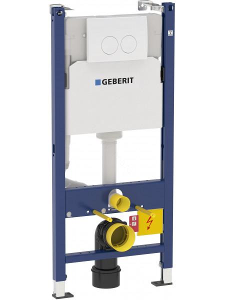 Монтажная система для унитаза Geberit Duofix Plattenbau, 458.122.11.1, крепления, клавиша Delta21 белая