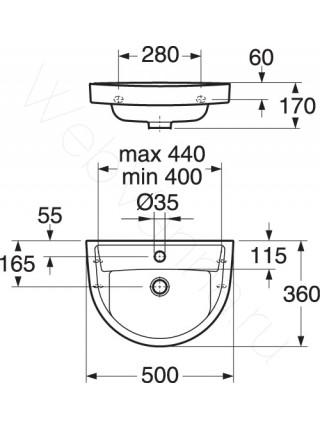 Раковина подвесная Gustavsberg Nordic 2500 GB1125000101