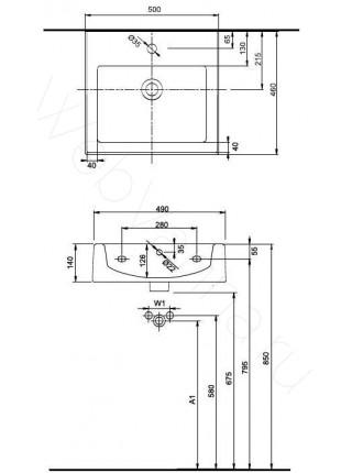 Раковина подвесная Ifo Twins RP011150000 500мм