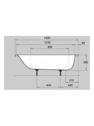Стальная ванна Kaldewei Euronowa Form Plus 140x70, 1195.1203.0001