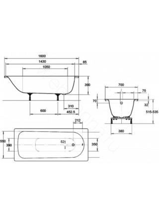 Стальная ванна Kaldewei Euronowa Form Plus 160x70 с ручками, 1197.2102.0001+5910.7000.0999