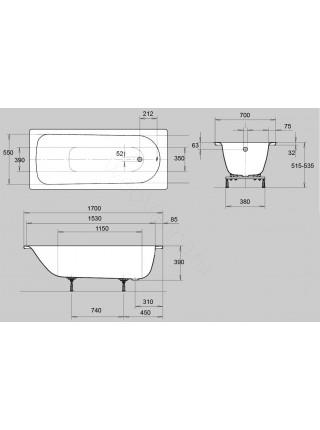 Стальная ванна Kaldewei Euronowa Form Plus 170x70 с ручками, 1198.2102.0001+5910.7000.0999