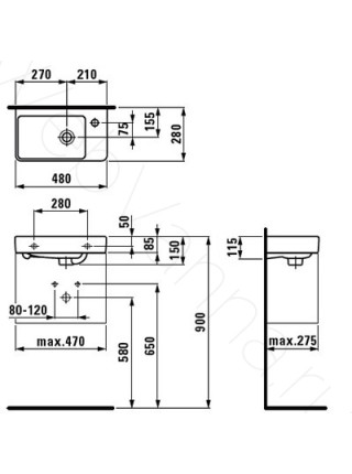 Раковина-мини Laufen PRO 815954 правая