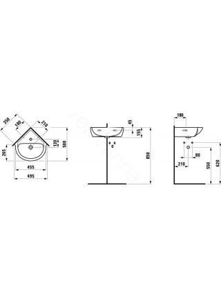 Раковина-мини Laufen PRO 816956 угловая