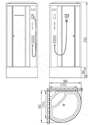 Душевая кабина Orans SR-86171 90х90