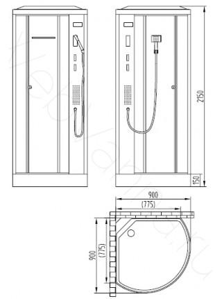 Душевая кабина Orans SR-86171A 90х90