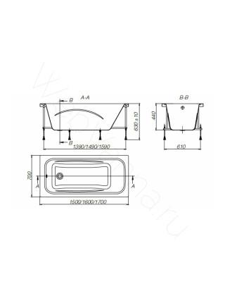 Акриловая ванна Roca Line 160х70, ZRU9302985