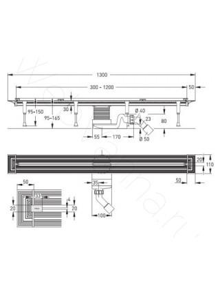 Душевой лоток Viega Advantix Vario Set 704353, 300-1200 мм, матовый хром