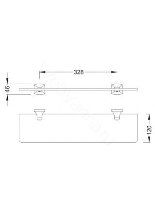 Стеклянная полка Zeegres Z.Style, 24114101, 50 см, хром