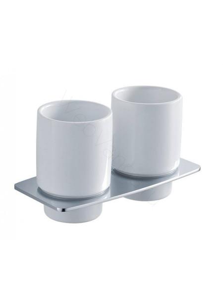 Двойной стакан для зубных щёток Zeegres Z.Style, 24119101, хром